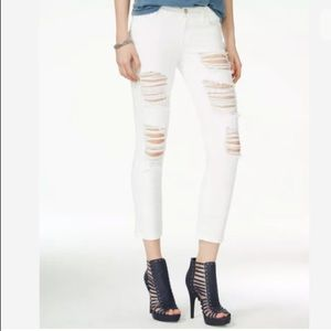 GUESS 30 White Ripped Crop Mid Rise Skinny Jeans